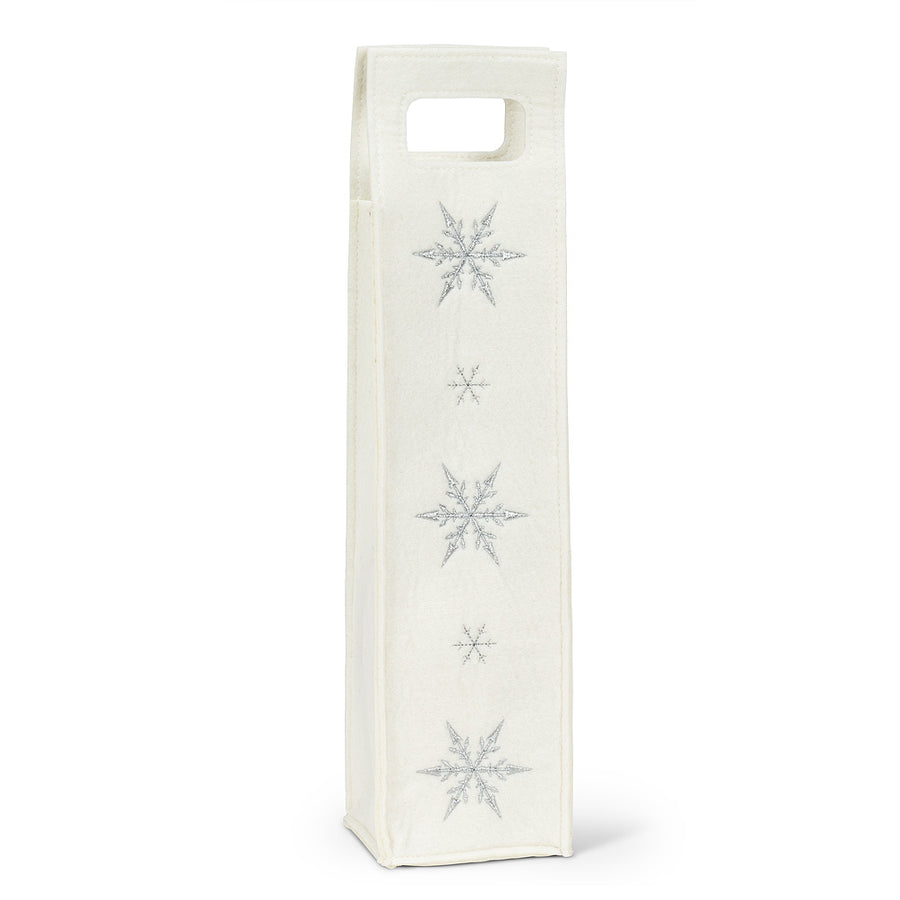 White Felt Wine Bag with Snowflake