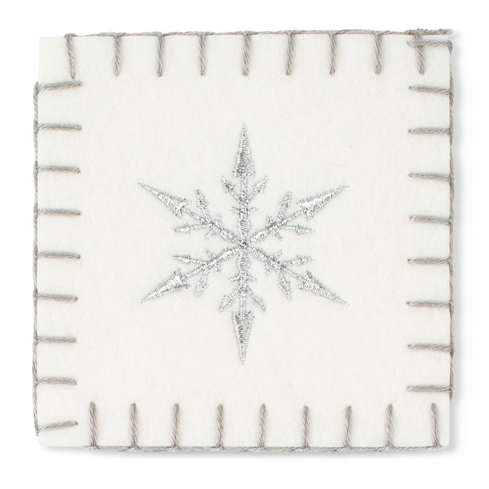 White Felt Coaster with Snowflake, AC-Abbott Collection, Putti Fine Furnishings