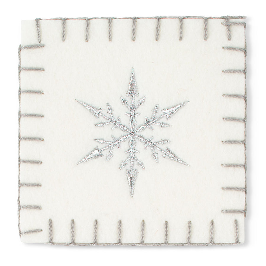White Felt Coaster with Snowflake
