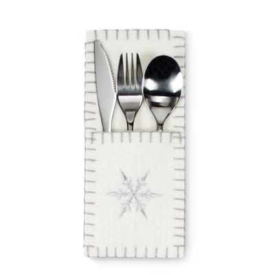 Cutlery holder with Snowflake, AC-Abbott Collection, Putti Fine Furnishings