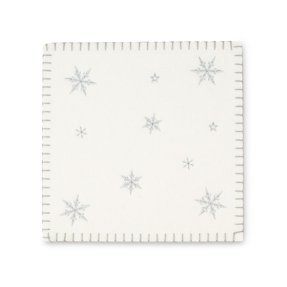 White Felt Trivet with Snowflake, AC-Abbott Collection, Putti Fine Furnishings