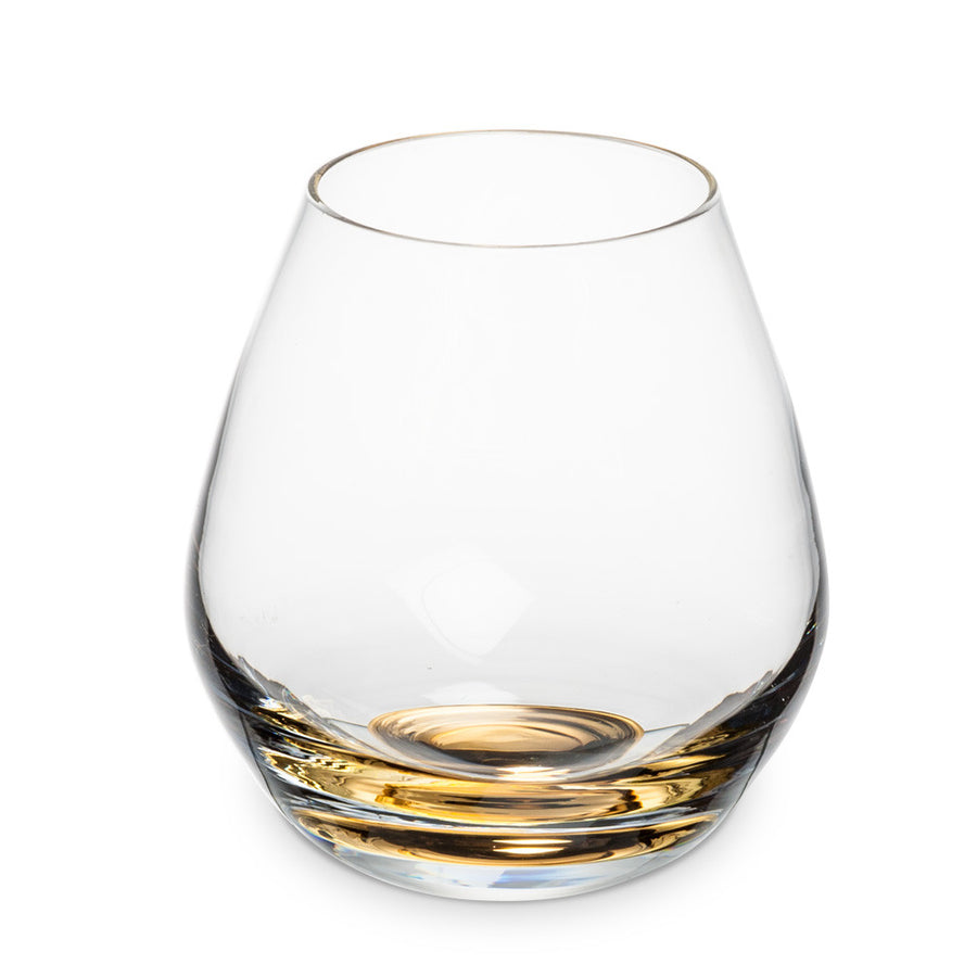 Gold Metallic Base Stemless Goblet