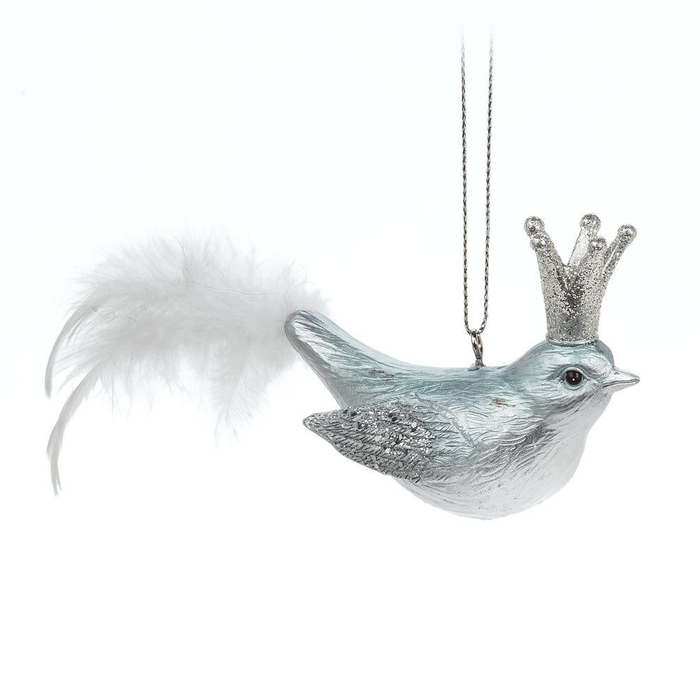Ice Blue Glitter Bird Ornament with Crown, AC-Abbott Collection, Putti Fine Furnishings