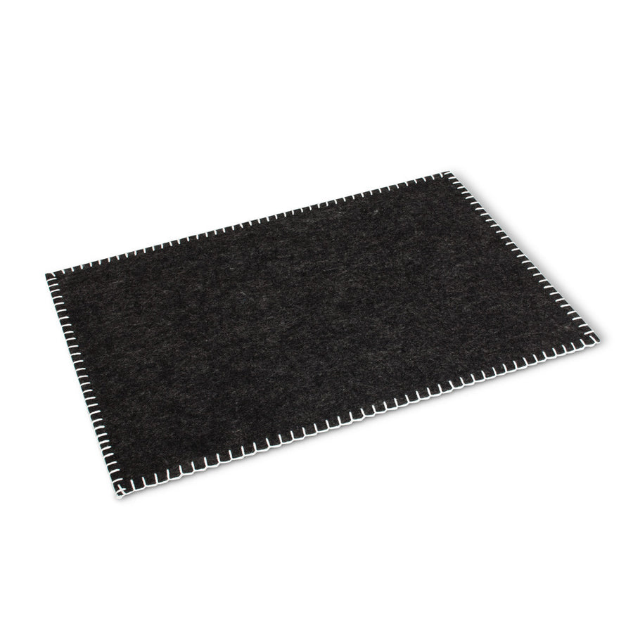 Edge Stitch Felt Table Mat - Dark Grey