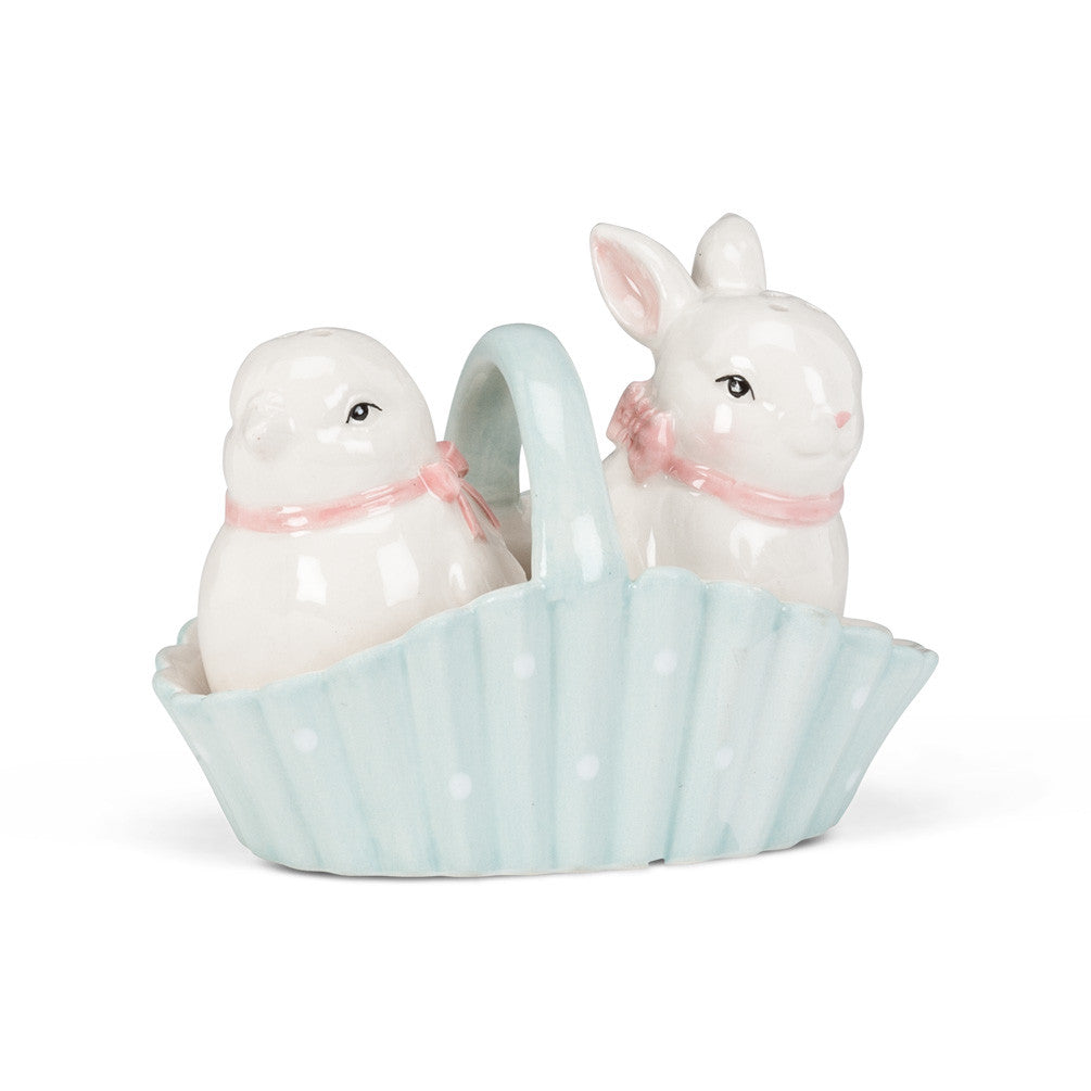 Rabbit and Chick Salt & Pepper -  Tableware - Abbot Collection - Putti Fine Furnishings Toronto Canada - 1