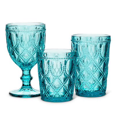 Turquoise Jewel and Bead Pattern Tumbler, AC-Abbott Collection, Putti Fine Furnishings