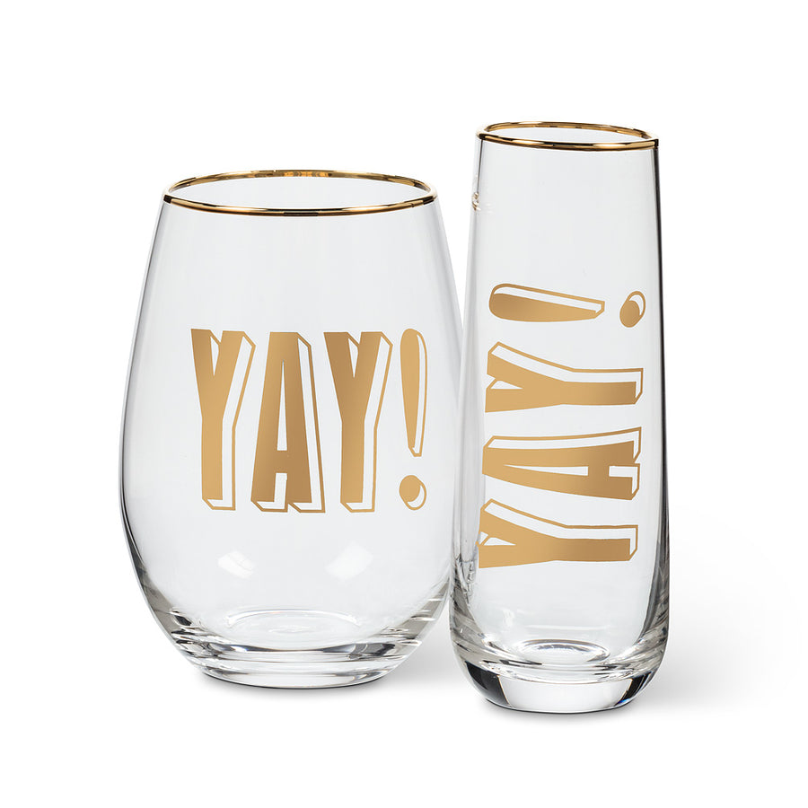 "Gold ""Yay"" Stemless Wine Glass"