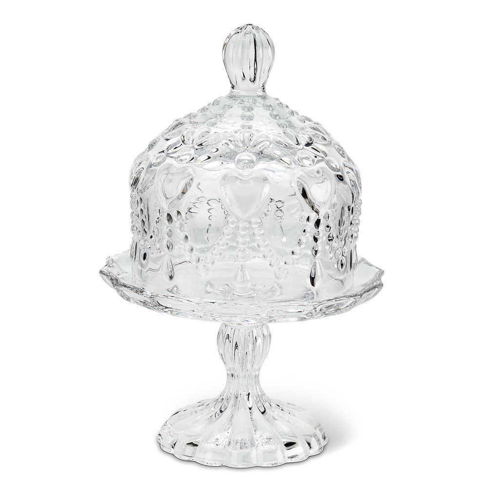 Small Covered Pedestal Plate with Hearts, Abbot Collection / Pine Center, Putti Fine Furnishings