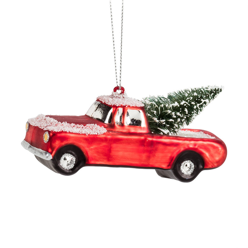 Pickup Truck with Tree Glass Ornament