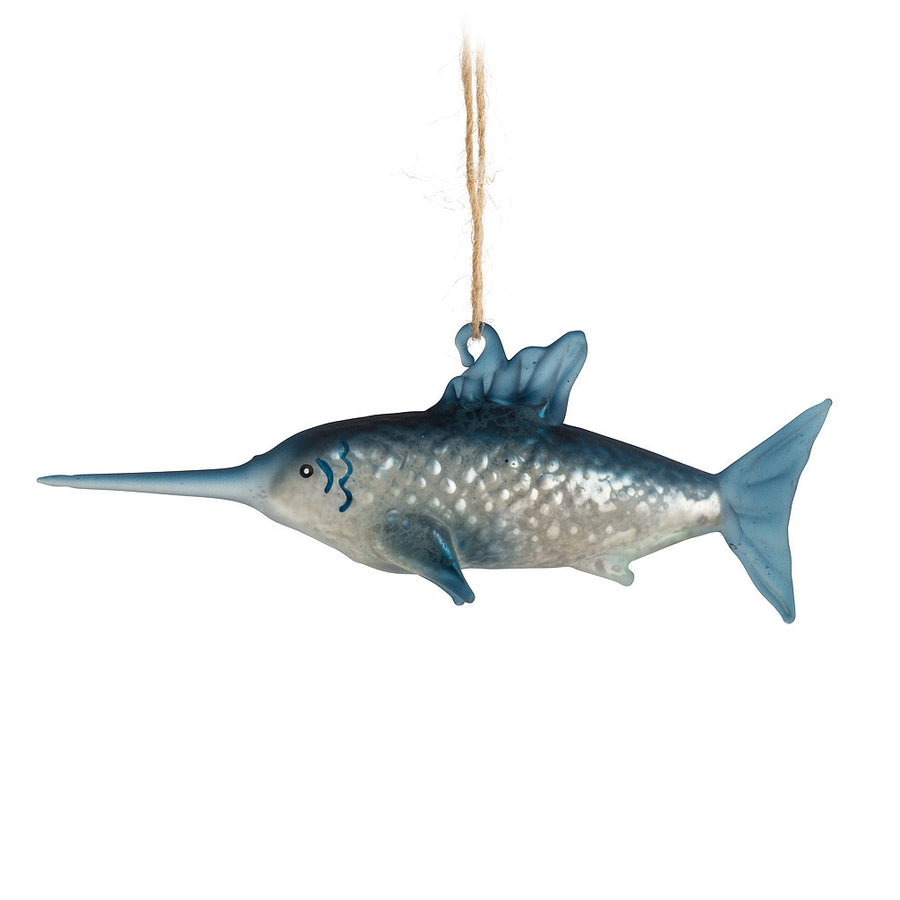 Blue Marlin Glass Ornament