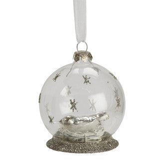 Nesting Bird in Glass Globe Ornament