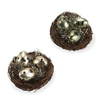 Natural Birds Nest with Glass Eggs Ornament, AC-Abbott Collection, Putti Fine Furnishings