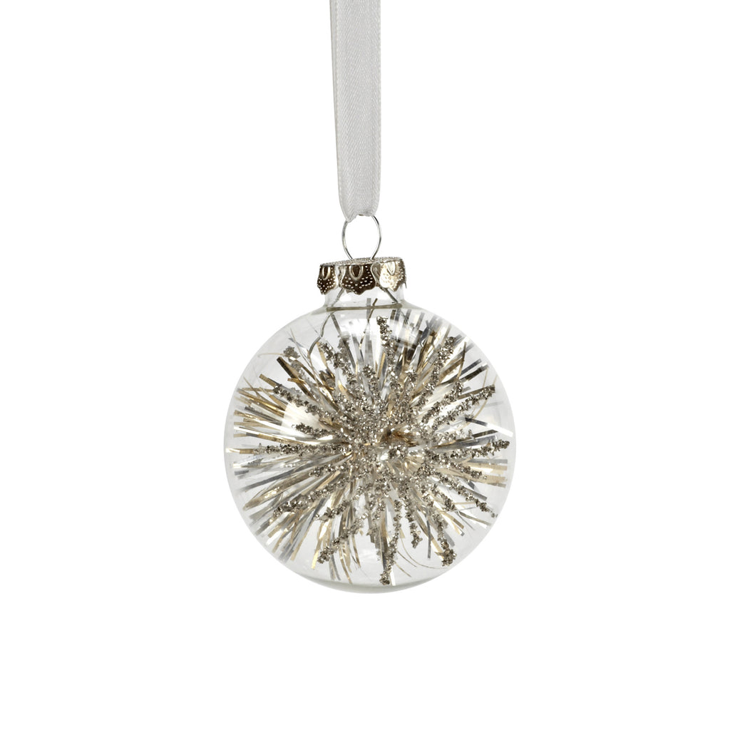 Clear Ball with Tinsel Star Ornament-Christmas-AC-Abbott Collection-Putti Fine Furnishings