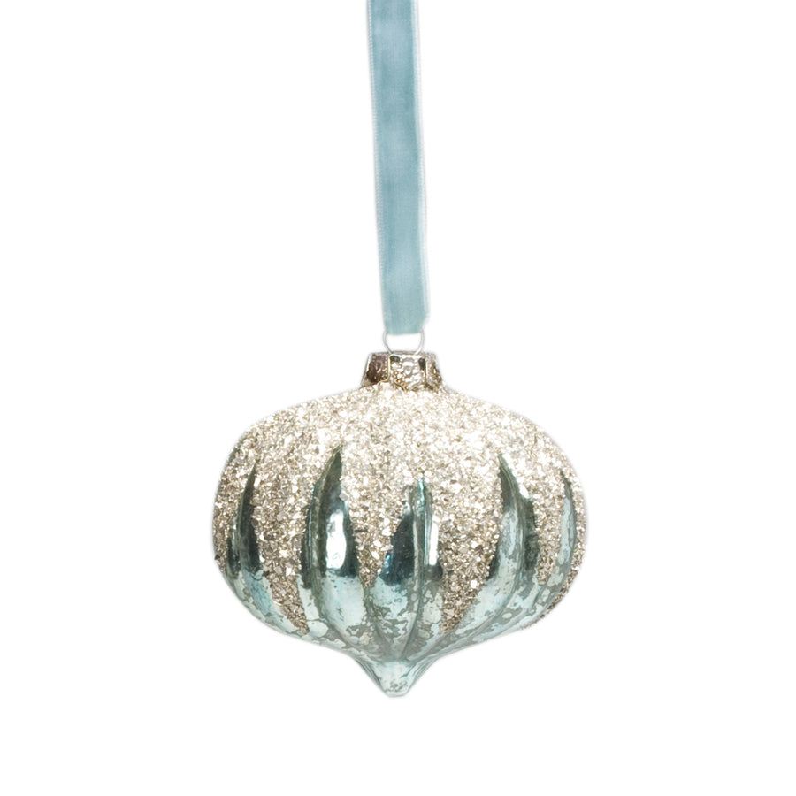 Turquoise Glittered Top Ornament