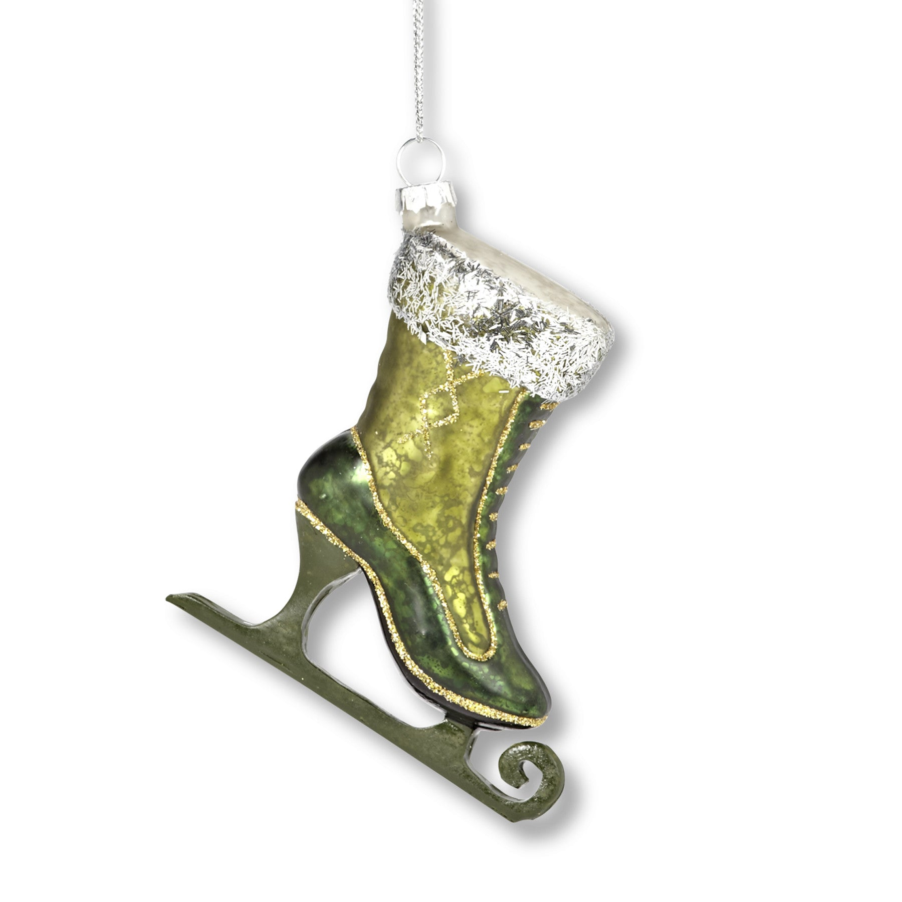 Green Glass Skate Ornament, AC-Abbott Collection, Putti Fine Furnishings