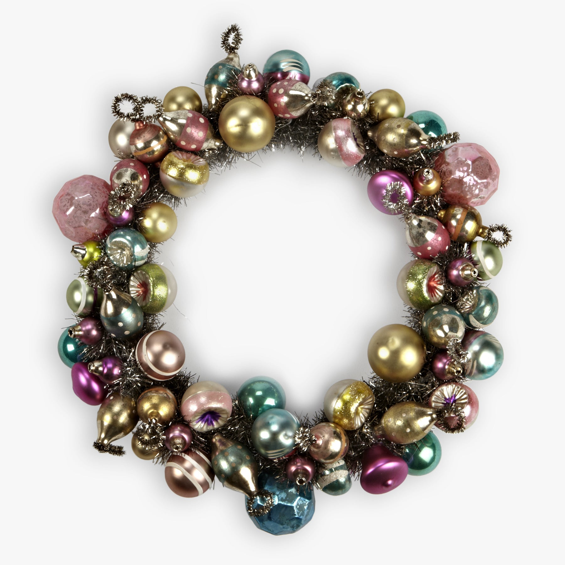 Vintage Glass Ornament and Tinsel Wreath
