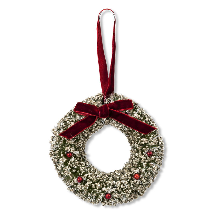 Glitter Wreath with Bow Ornament -  Christmas - AC-Abbott Collection - Putti Fine Furnishings Toronto Canada