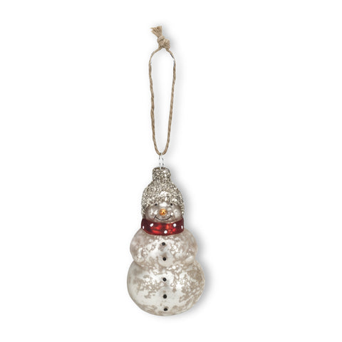 Small Glittered Hat Snowman Ornament-Christmas Decorations-AC-Abbott Collection-Putti Fine Furnishings
