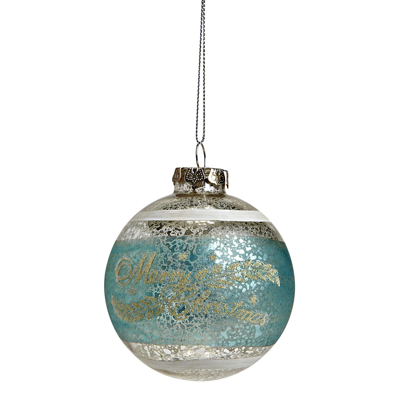 """Merry Christmas"" Turquoise Ornament, AC-Abbott Collection, Putti Fine Furnishings"