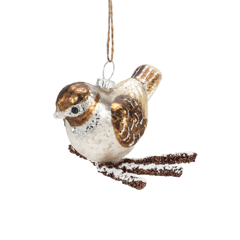 Bird on Twig Ornament -  Christmas - AC-Abbot Collection - Putti Fine Furnishings Toronto Canada