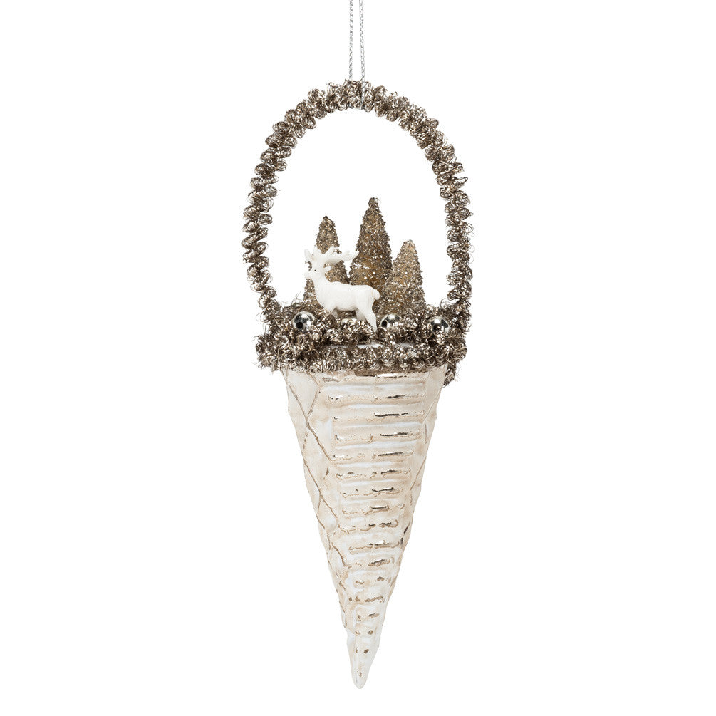 Silver Cone with Winter Scene Ornament