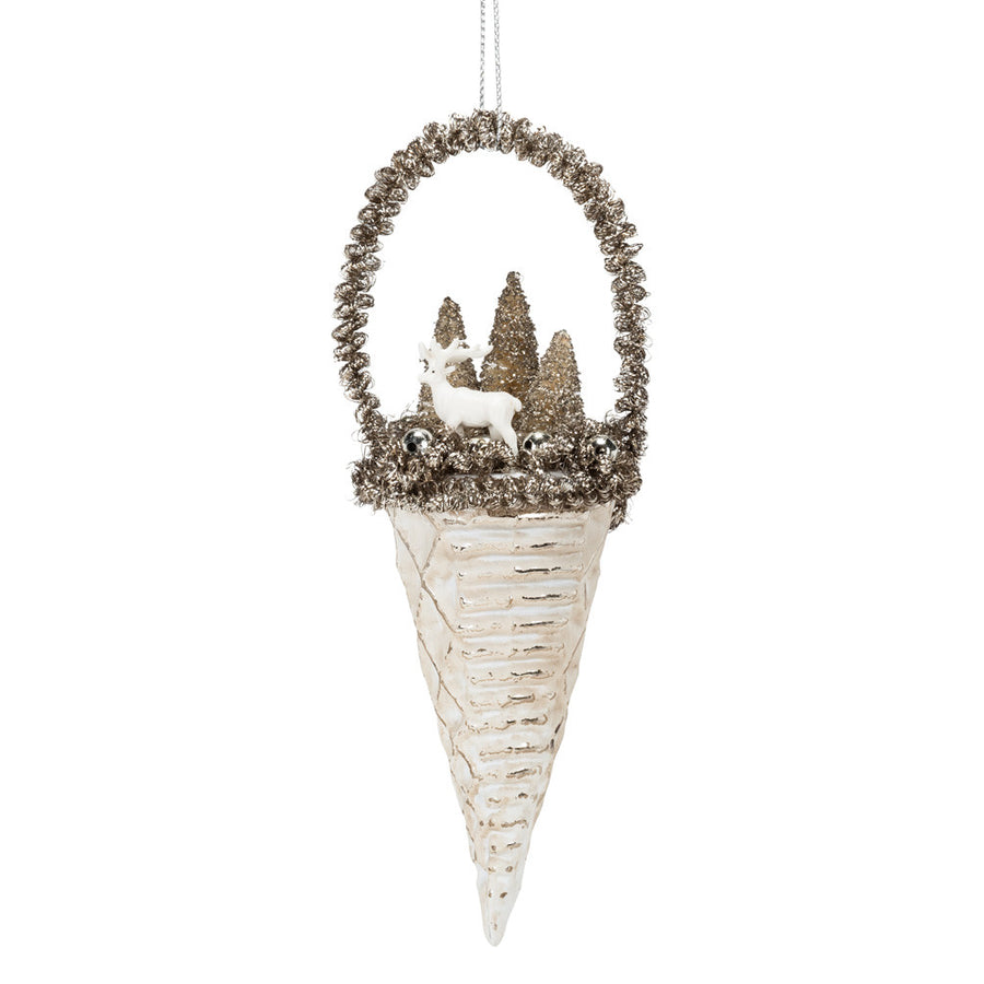 Silver Cone with Winter Scene Ornament -  Christmas - AC-Abbot Collection - Putti Fine Furnishings Toronto Canada
