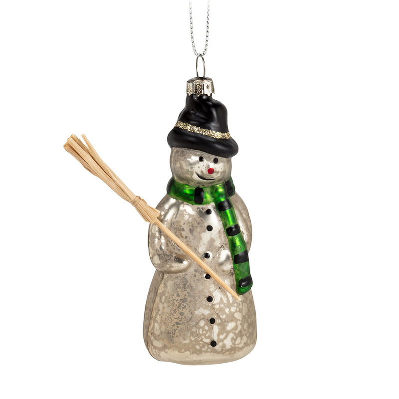 Snowman with Broom Ornament, AC-Abbott Collection, Putti Fine Furnishings