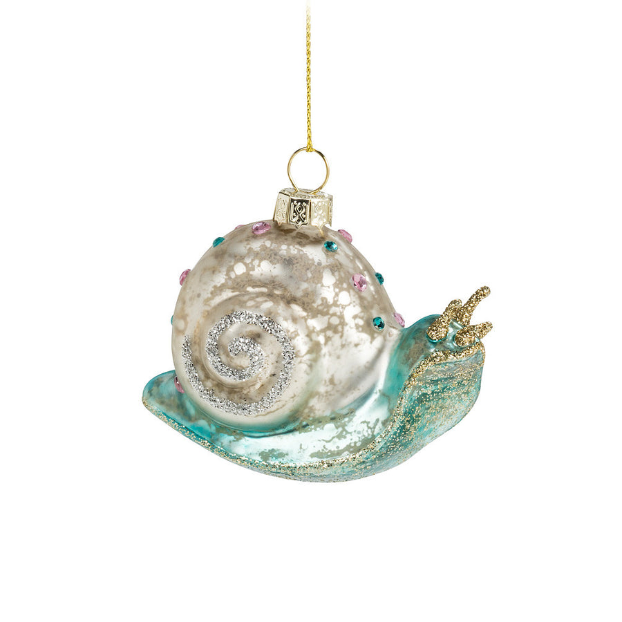 Glittery Snail Glass Ornament