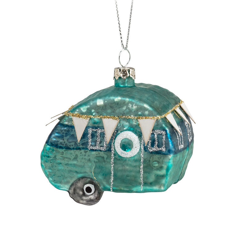 Blue Camper Glass Ornament