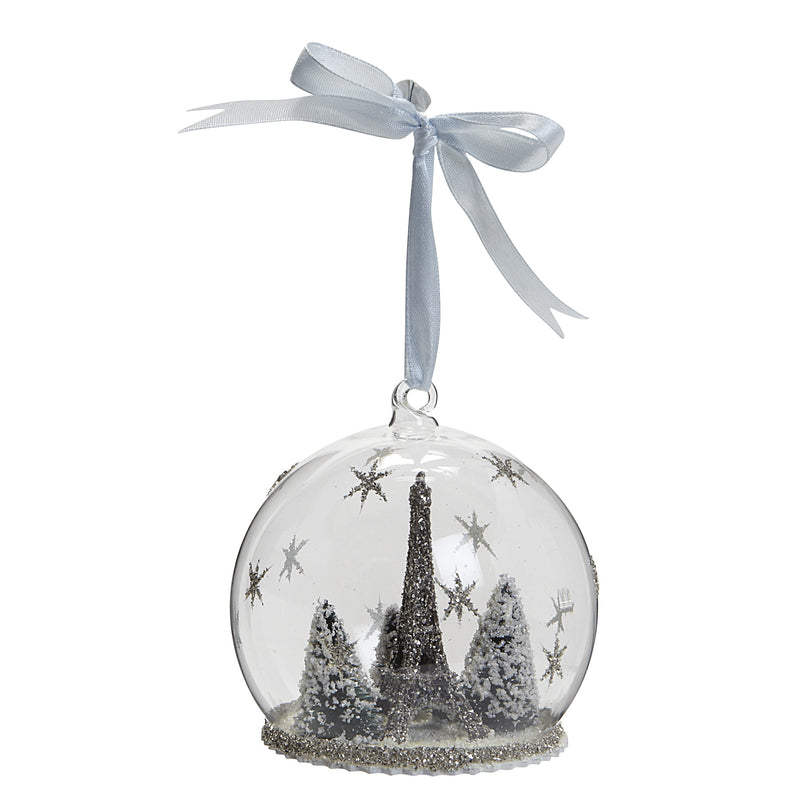 Eiffel Tower in Glass Globe Ornament -  Christmas - AC-Abbott Collection - Putti Fine Furnishings Toronto Canada