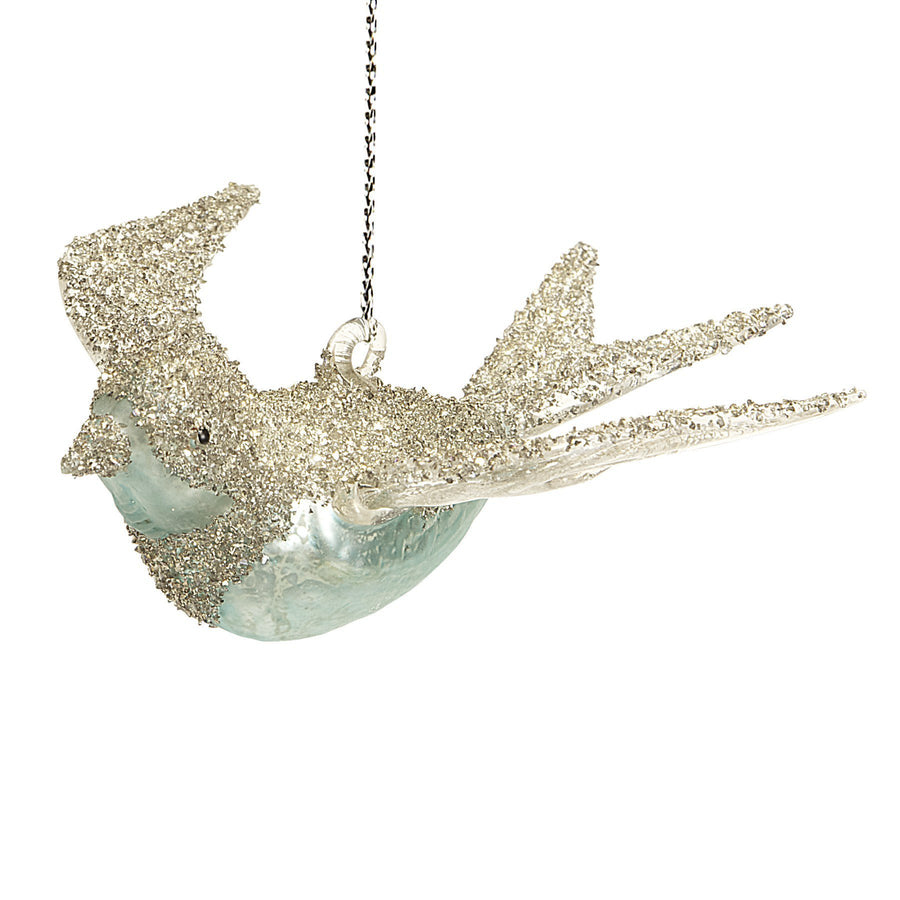 Vintage Turquoise Glass Bird Ornament