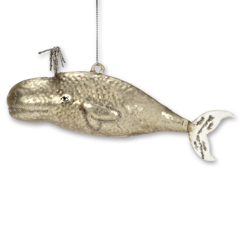 Spouting Whale Ornament - Silver, AC-Abbott Collection, Putti Fine Furnishings