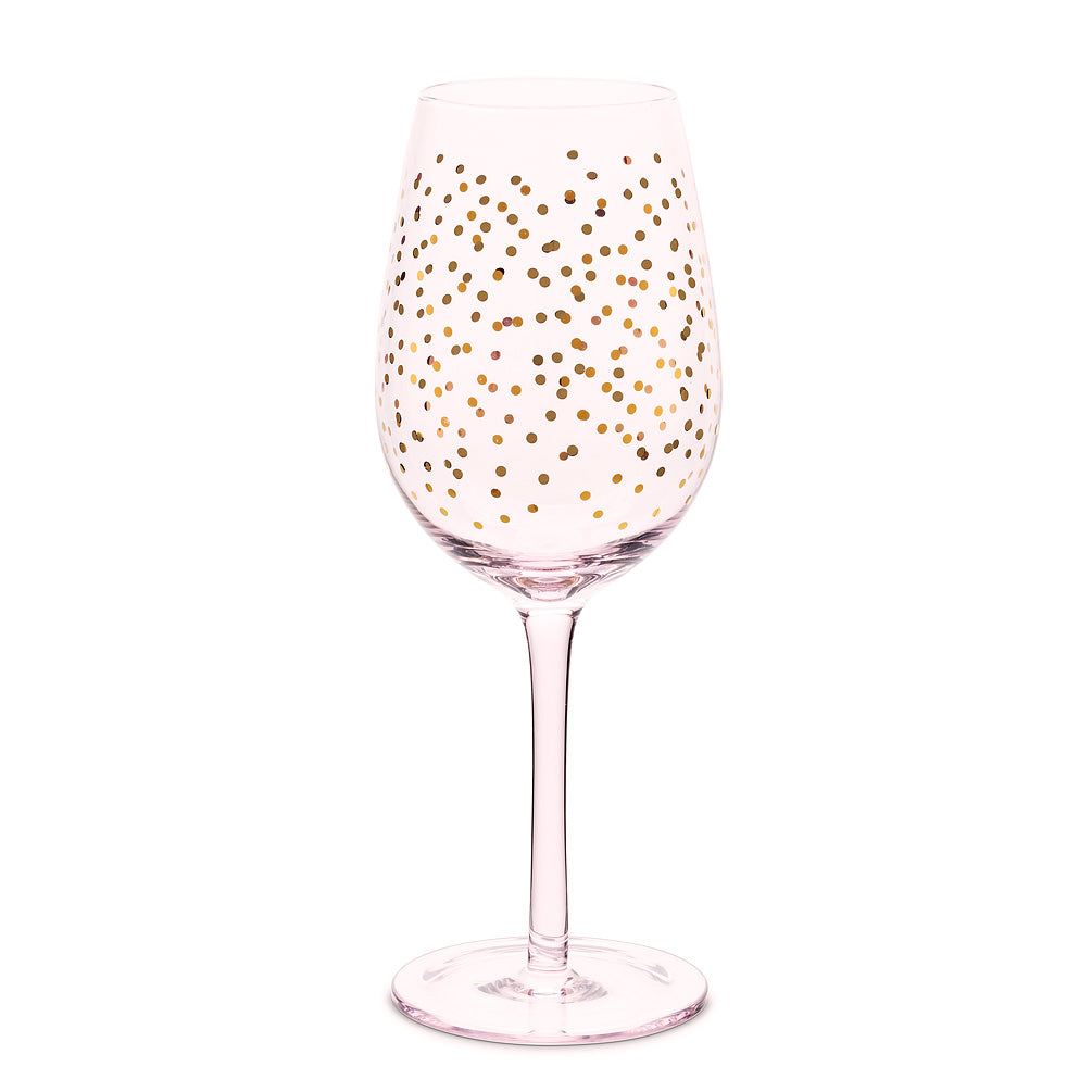 Pink Wine Goblet with Mini Dots - Putti Fine Furnishings Canada