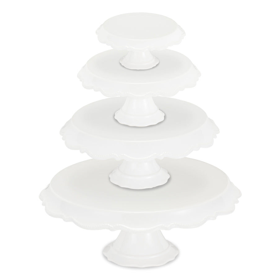 White Beaded Rim Pedestal Cake Stand - Large