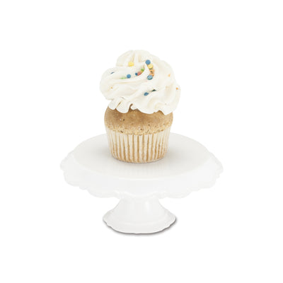 White Beaded Rim Pedestal Cake Stand - Small, AC-Abbott Collection, Putti Fine Furnishings