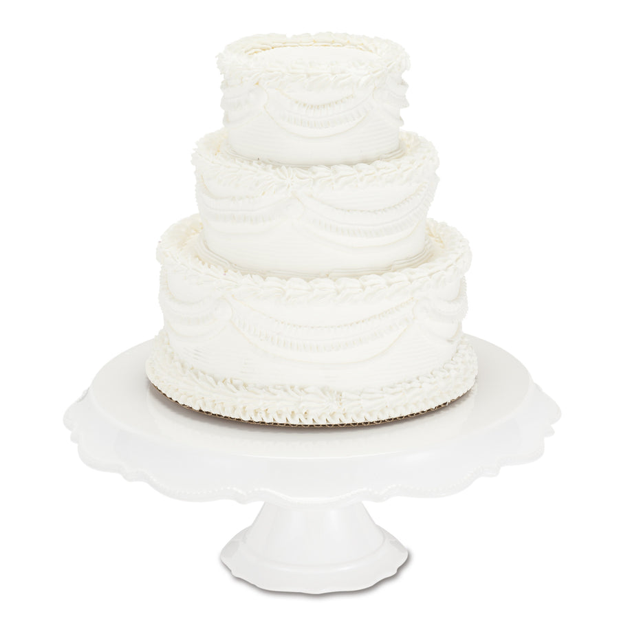 White Beaded Rim Pedestal Cake Stand - Extra Large