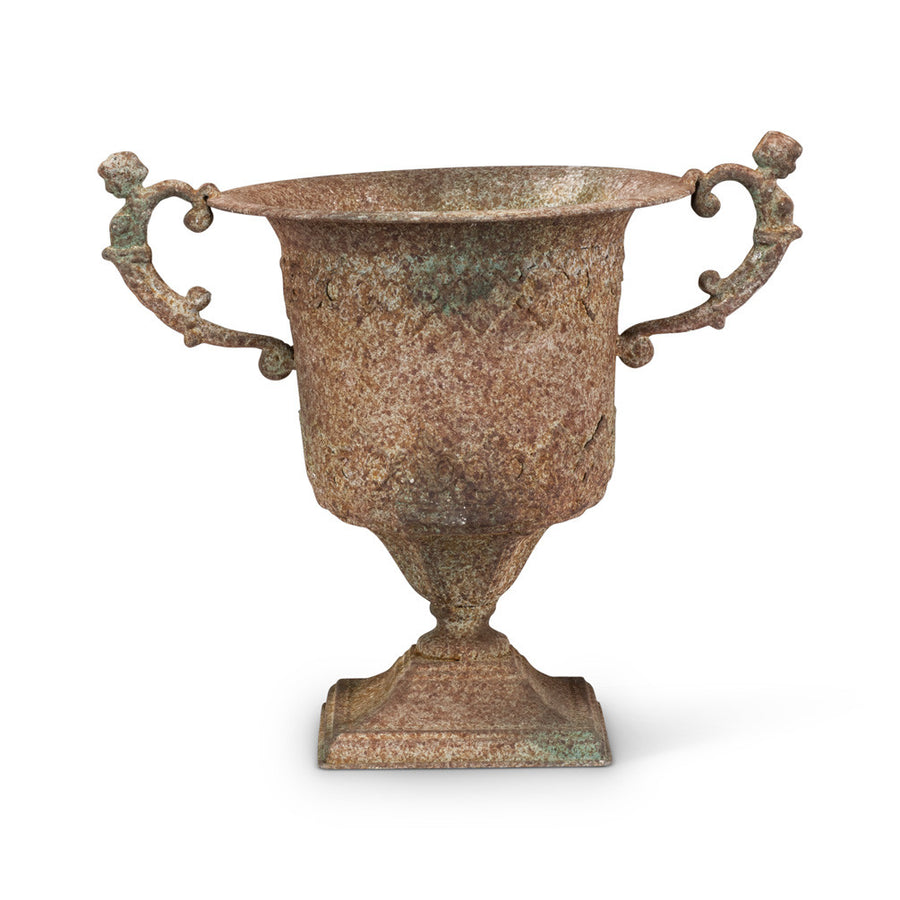 Square Base Ornate Rustic Urn