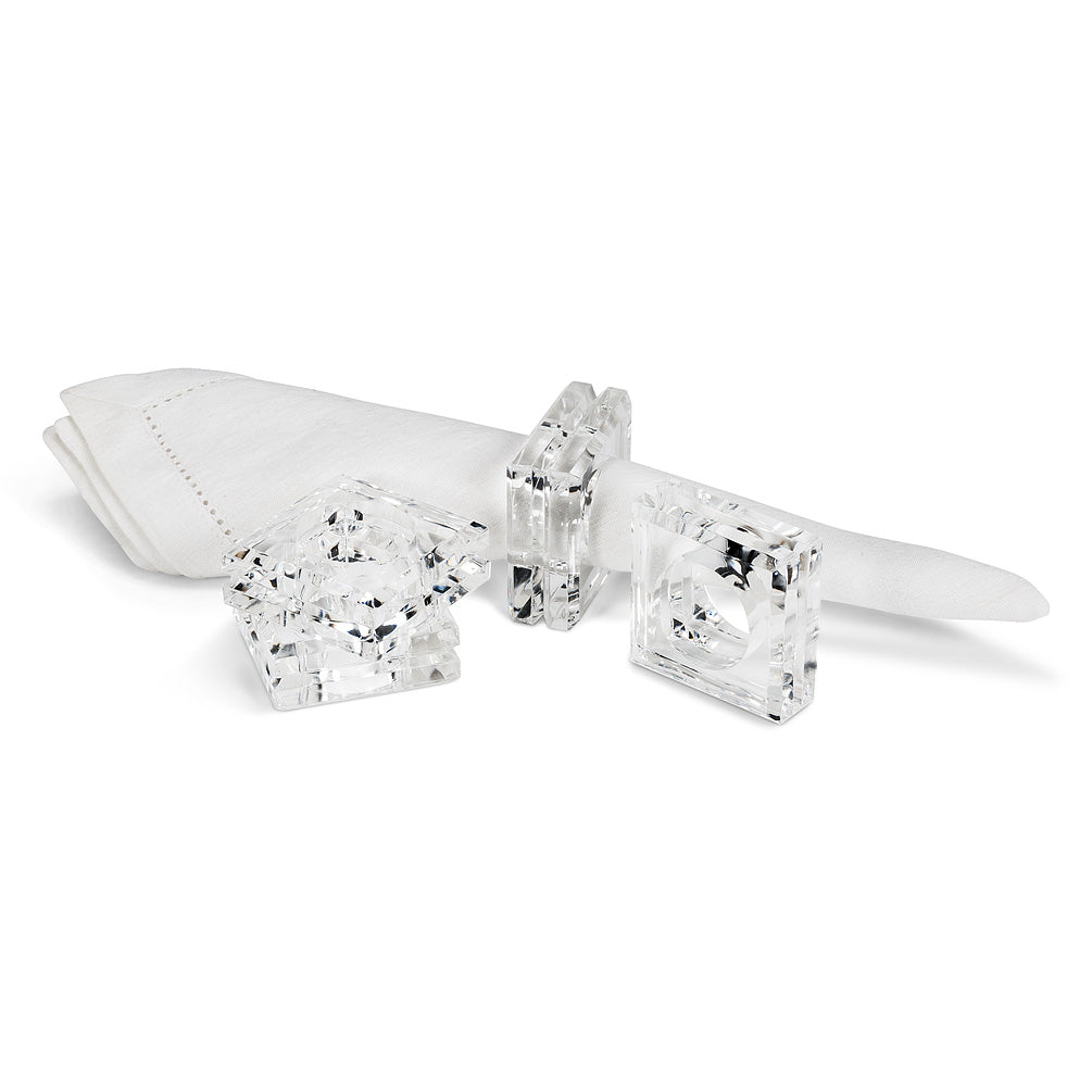 Modern Square Clear Acrylic Napkin Ring