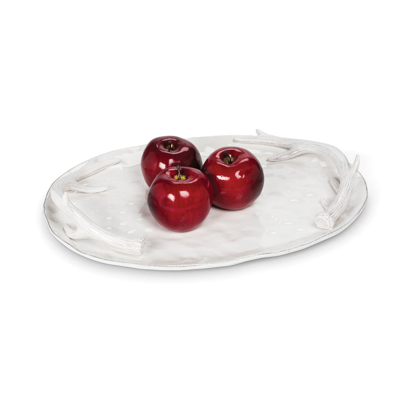 White Oval Antler Tray, AC-Abbott Collection, Putti Fine Furnishings