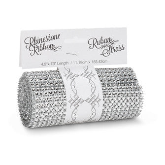 Wide Diamond Ribbon - Silver -  Christmas - AC-Abbott Collection - Putti Fine Furnishings Toronto Canada