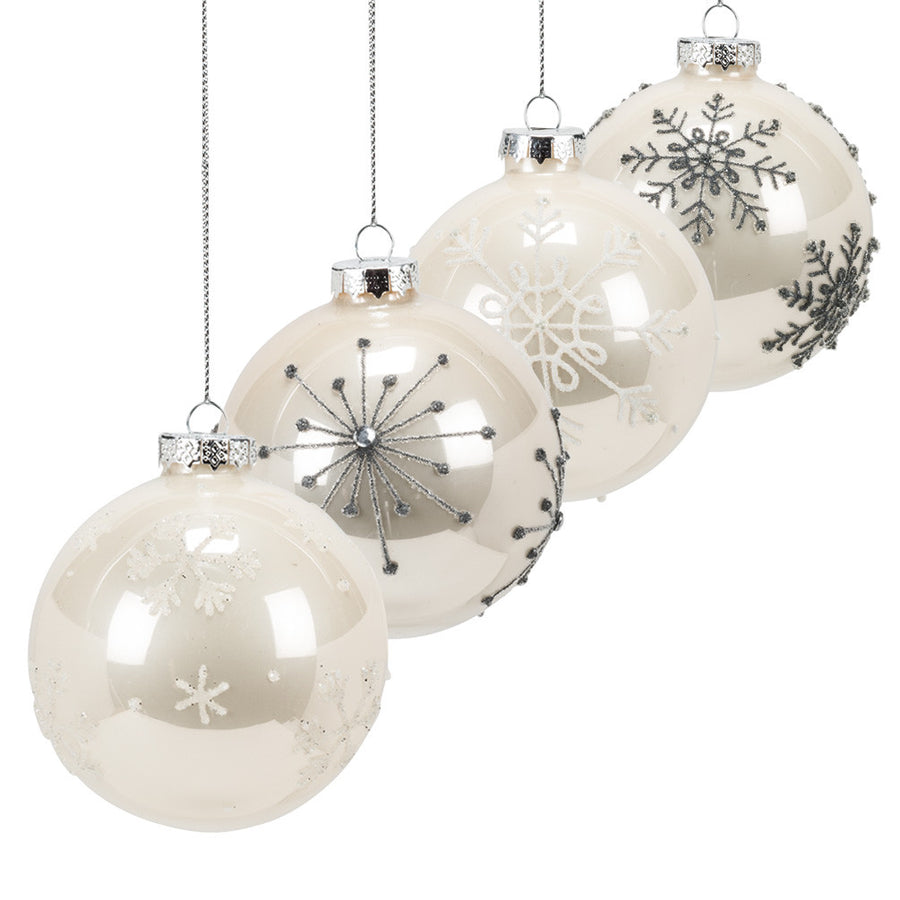 Beige Ombre Snowflake Ball Ornament