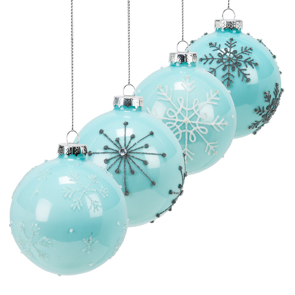 Tiffany Blue Snowflake Ornament - Icy Snowflakes Christmas Decorations - AC-Abbot Collection - Putti Fine Furnishings Toronto Canada