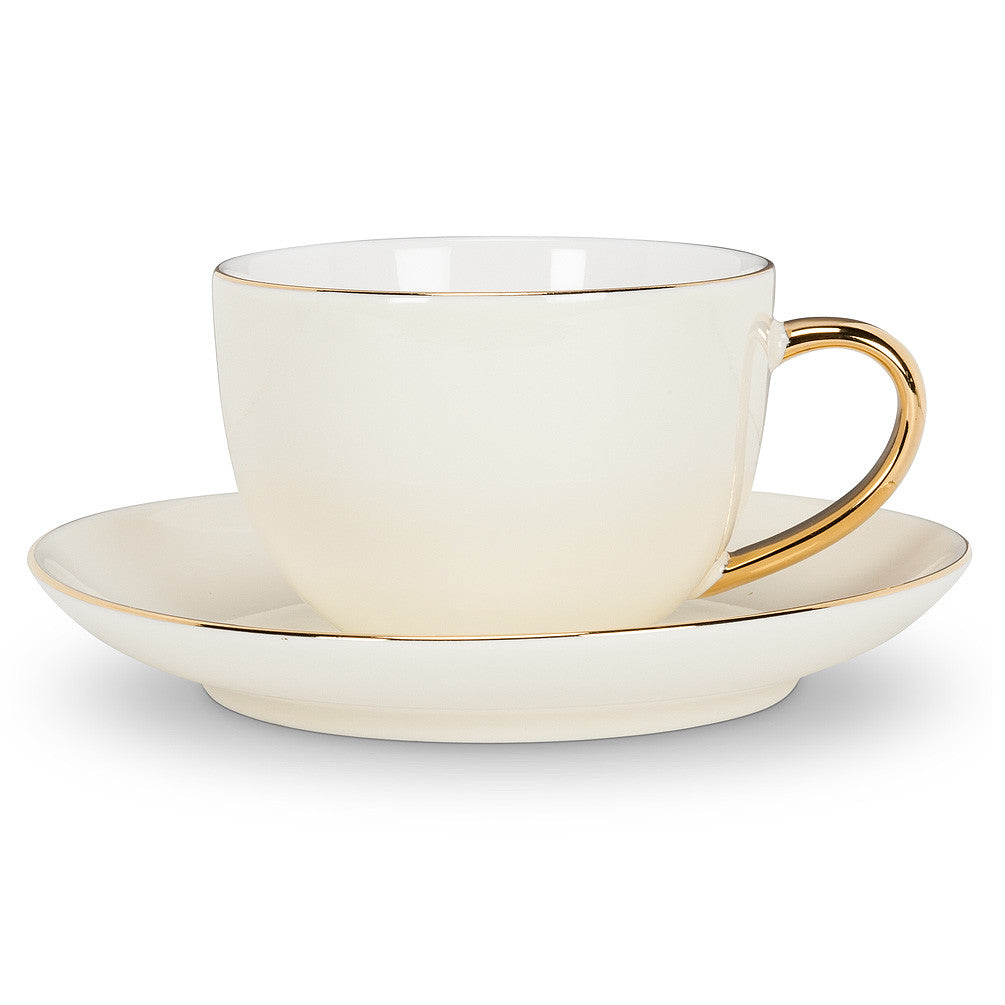 Cup and Saucer with Gold Handle - Cream