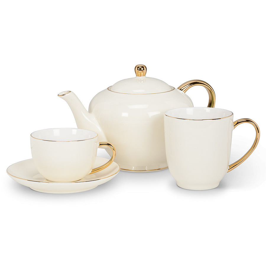 Teapot with Gold Handle - Cream