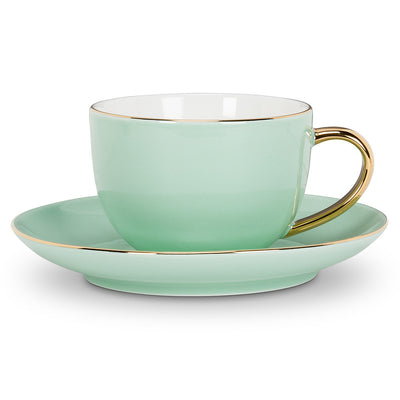 Cup and Saucer with Gold Handle - Mint -  Tableware - AC-Abbott Collection - Putti Fine Furnishings Toronto Canada - 1