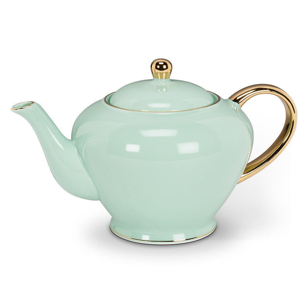 Teapot with Gold Handle - Mint -  Tableware - AC-Abbott Collection - Putti Fine Furnishings Toronto Canada - 1