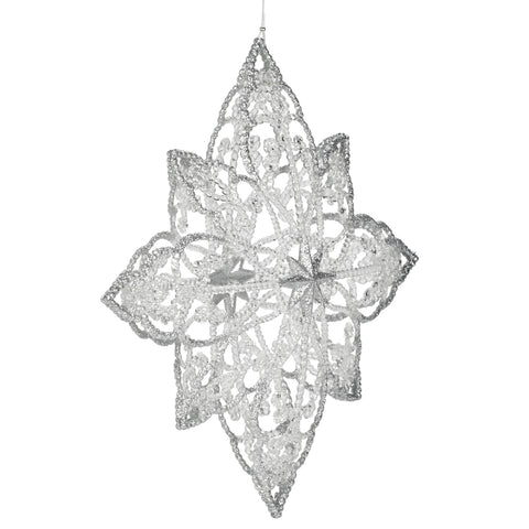 Frosted Snowflake Ornament-Christmas-AC-Abbott Collection-Putti Fine Furnishings