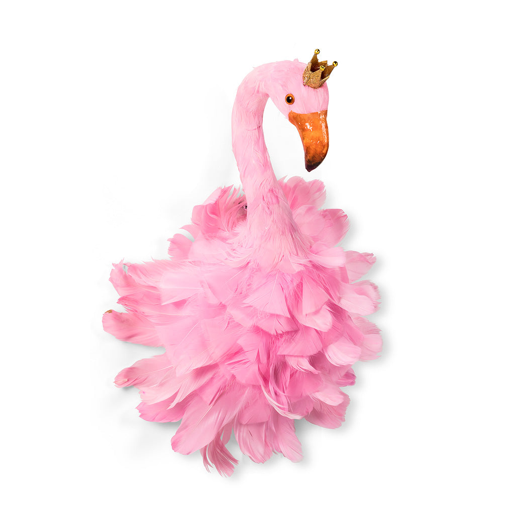 Pink Feather Flamingo with Crown - Medium, AC-Abbott Collection, Putti Fine Furnishings