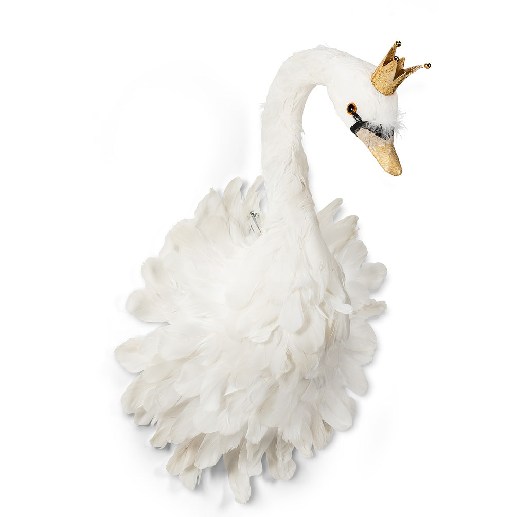 White Feather Swan with Crown - Large, AC-Abbott Collection, Putti Fine Furnishings