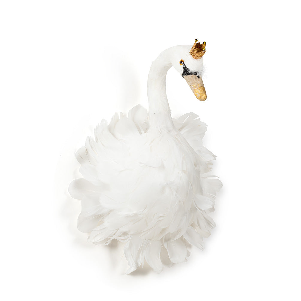 White Feather Swan with Crown - Medium, AC-Abbott Collection, Putti Fine Furnishings